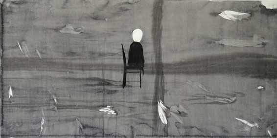 Sitting in landscape, ink painting 68/138cm
