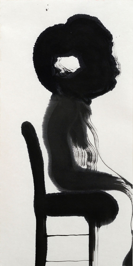 sitting, ink painting, 33_66cm