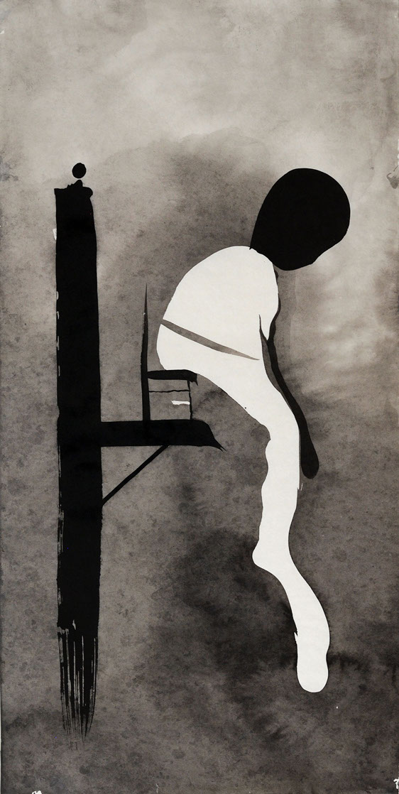 sitting, ink painting, 66_33cm