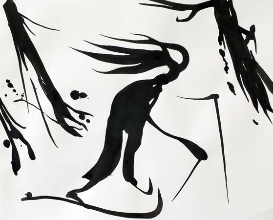 Skier, ink painting 40_53cm