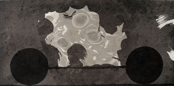 stone carriage 1, ink painting 33_66cm