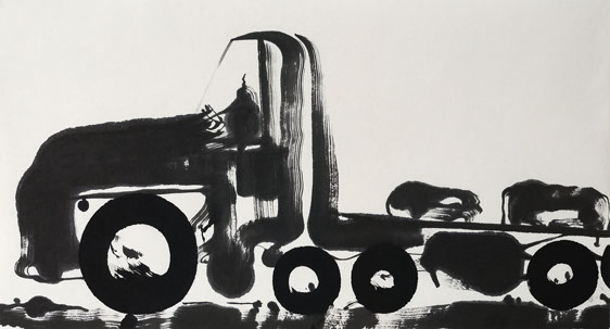 truck 1 ink painting 45_90cm