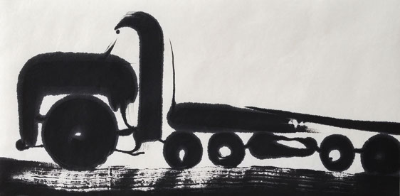 truck 5, ink painting 33_66cm