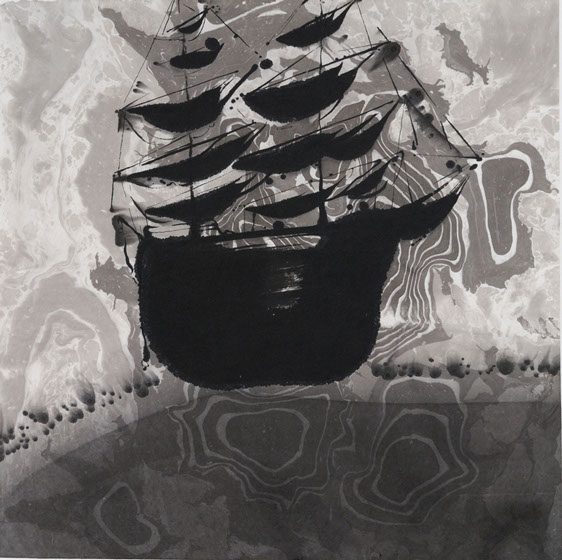 Votive-ship, ink painting 34_34cm